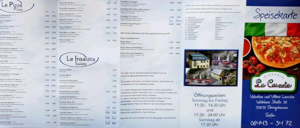 Pizzeria La Cascata de Ehringshausen carte